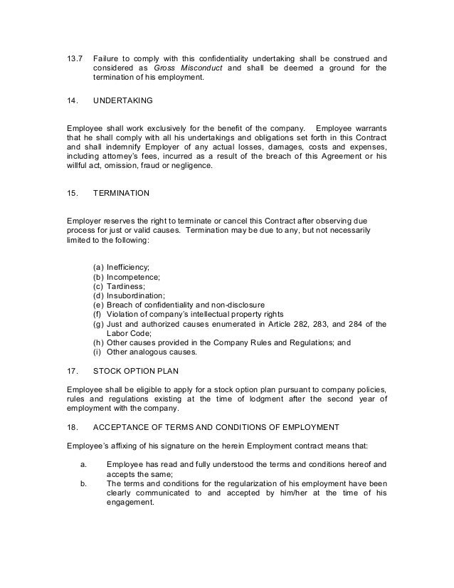 Termination Of Employment Employment Termination Notice Sample