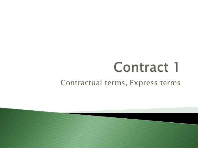 Contractual terms, Express terms