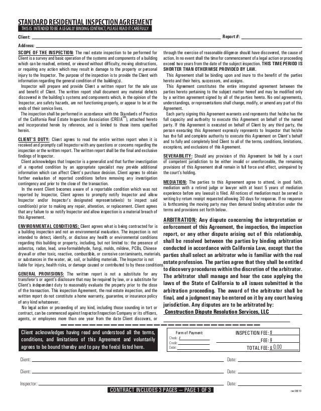 STANDARD RESIDENTIAL INSPECTION AGREEMENT                                                                Tim Hemm Inspecti...