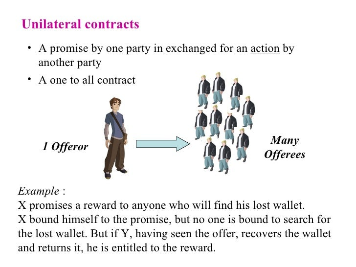 unilateral contract Unilateral contract a contract that is binding on one party but only if the other party chooses to take advantage of itan option contract is the classic unilateral contracta property.