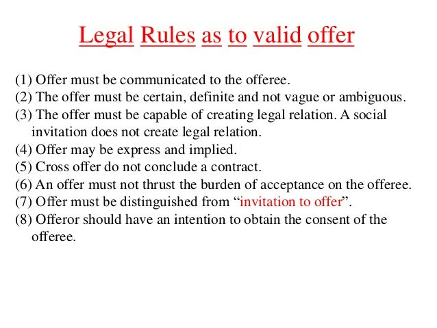 legal rules of valid offer