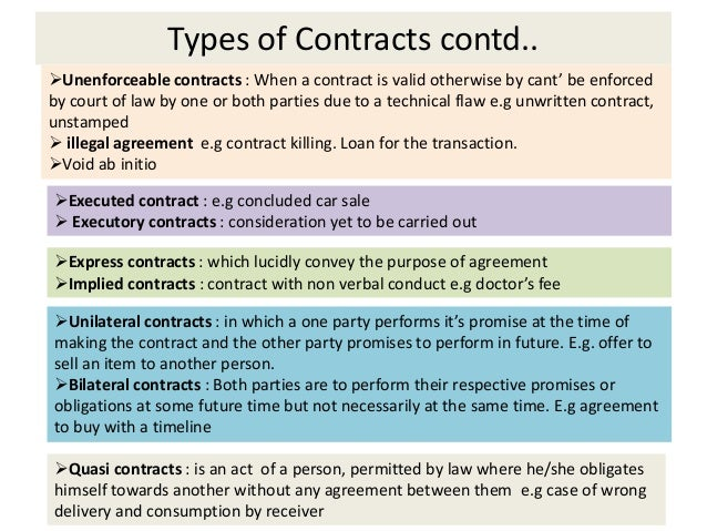 law types of contract Thinking about law school  law may focus on a specific type of real estate law or a related area of law, such as oil and gas or natural resources law.