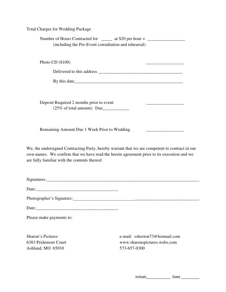 photography event contract template - Thevillas.co