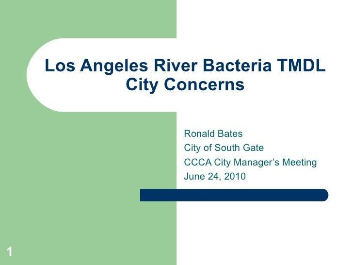 Los Angeles River Bacteria TMDL             City Concerns                     Ronald Bates                    City of Sout...