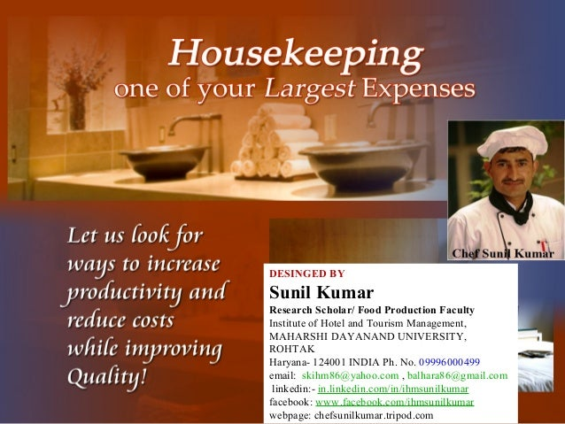 House keepingHouse keeping departmentdepartment One picture of thatOne picture of thatDESINGED BY Sunil Kumar Research Sch...