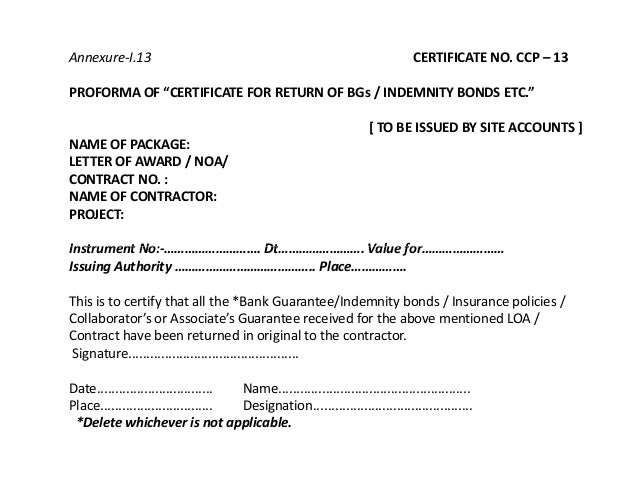 performance bond template - contract closing ppt