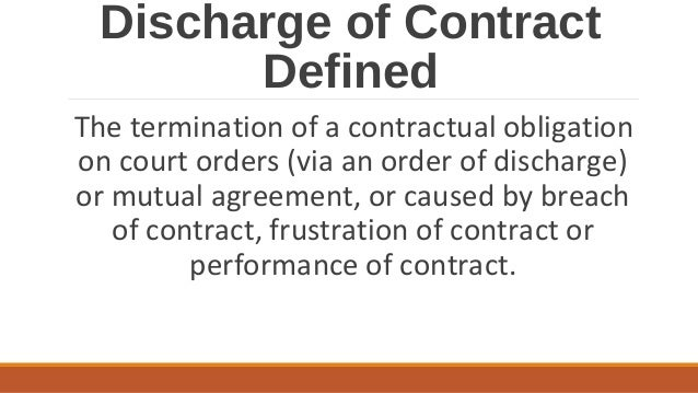 define discharge of contract