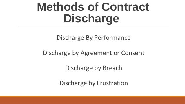How can contracts be discharged from further performance?