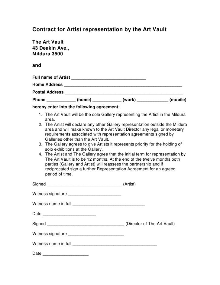 Contract for Artist representation by the Art Vault  The Art Vault 43 Deakin Ave., Mildura 3500  and  Full name of Artist ...