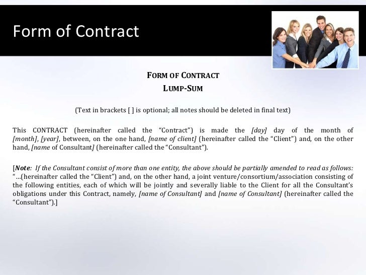 Contract For Consultancy Services Lump Sum A Form Of Contract