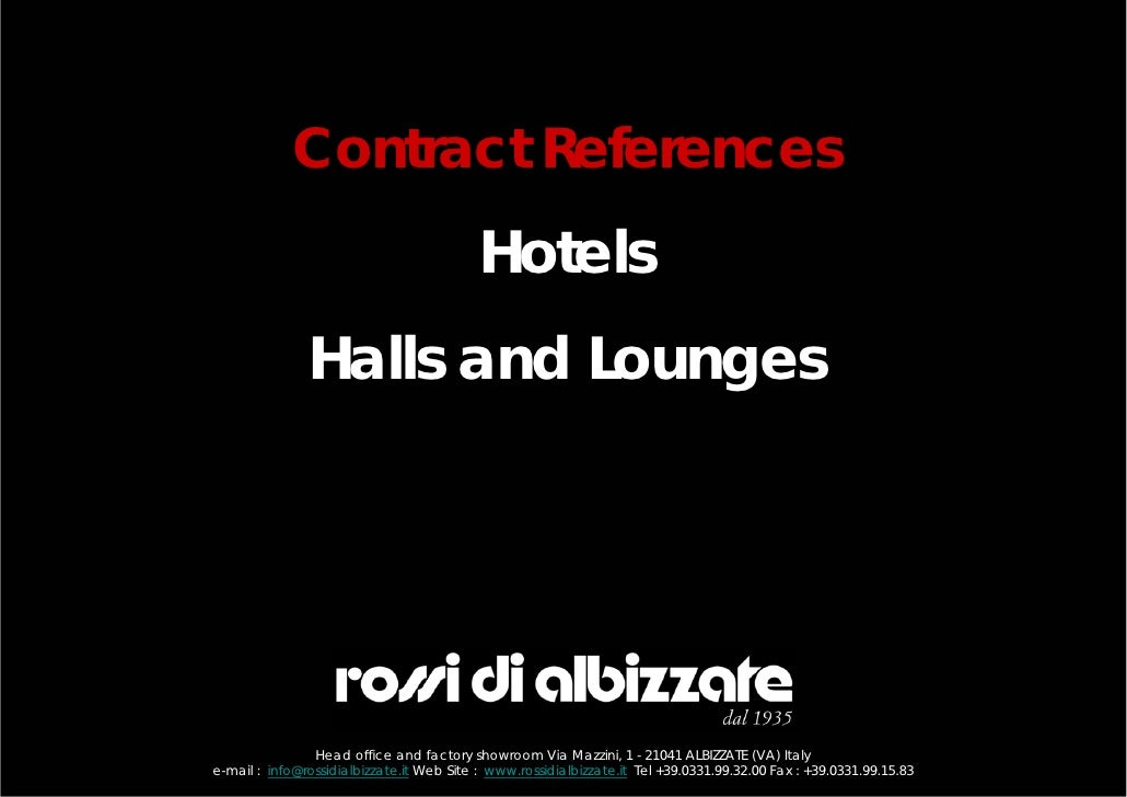 Contract References                                           Hotels               Halls and Lounges                Head o...
