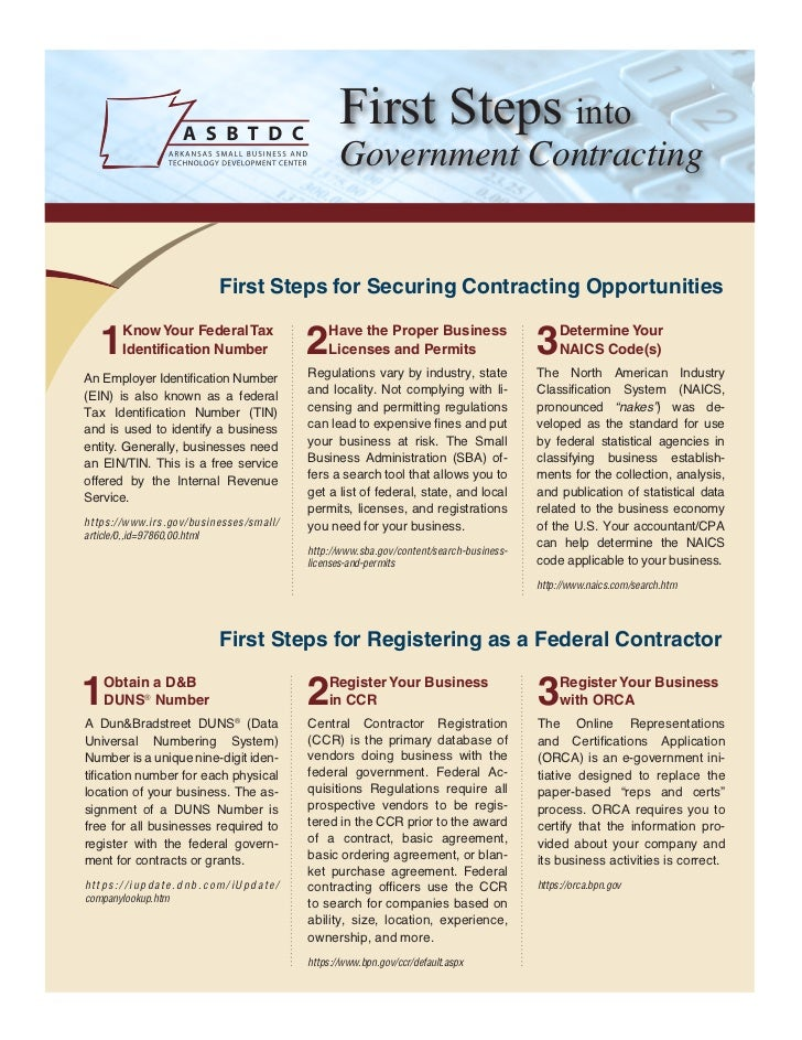 First Steps into                                               Government Contracting                         First Steps ...