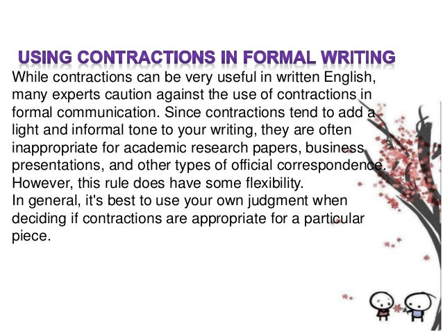 Refrain from using contractions in academic writing