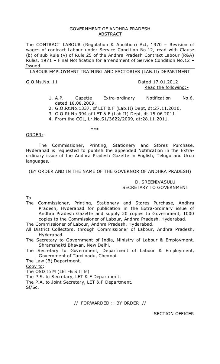 GOVERNMENT OF ANDHRA PRADESH                            ABSTRACTThe CONTRACT LABOUR (Regulation & Abolition) Act, 1970 – R...