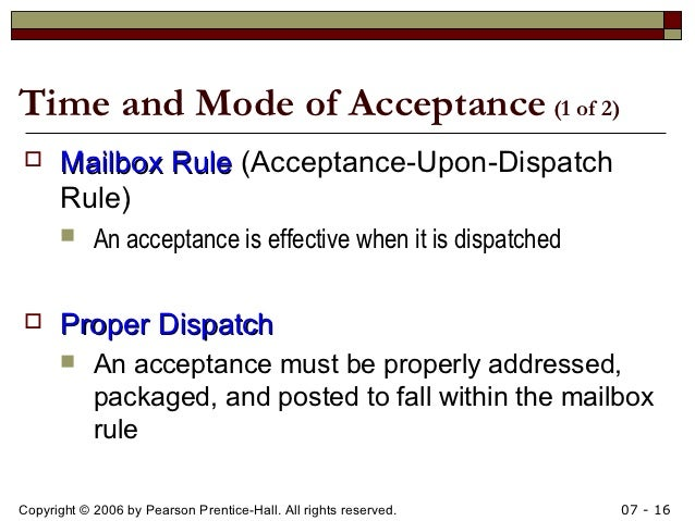 mailbox rule contract law