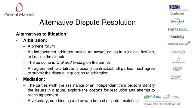 litigation versus adr Or alternative dispute resolution ('adr') mechanisms serve an increasingly  important  high court's 2009 decision in aon risk services v australian  national.