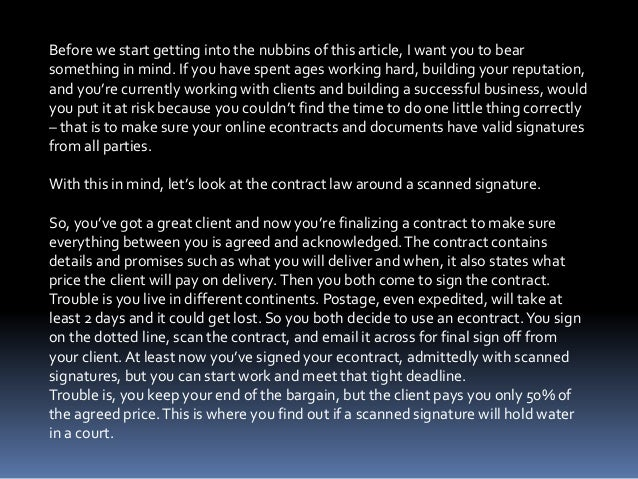 Contract law 101 are scanned signatures valid