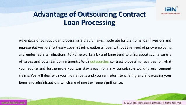 all rights reserved 5 advantage of outsourcing contract loan processing advantage of contract - Contract Loan Processing