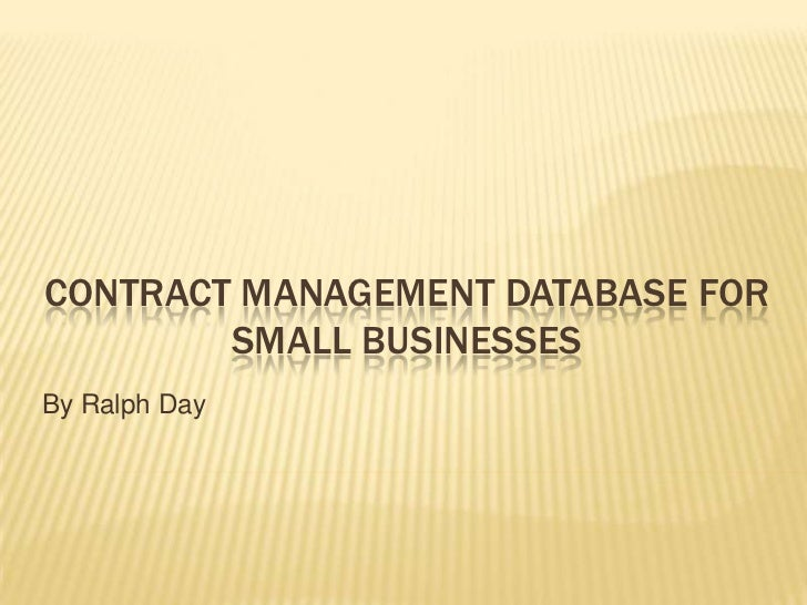 Contract Management Database For Small Businesses