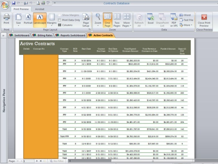 project management database template
