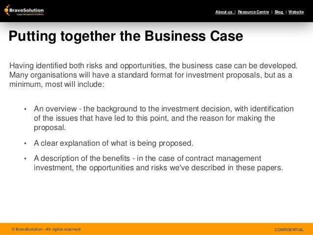 Contract Management Making the Business Case for Investment – Business Investment Contract