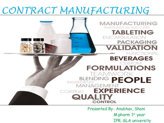 CONTRACT MANUFACTURING  Presented By- Anubhav, Shani M.pharm 1st year IPR, GLA university