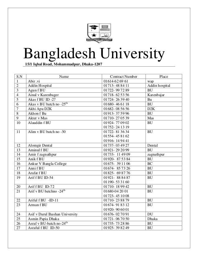 Bangladesh University15/1 Iqbal Road, Mohammadpur, Dhaka-1207 S.N Name Contract Number Place 1 Abir .vi 01614-62 69 61 wap...