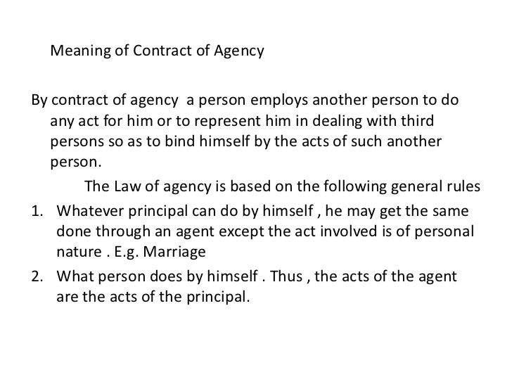 agency contract and agent Document description sales agency agreement this sales agency agreement (agreement) is made and effective this [date], between: [your company name] (the principal), a corporation organized and existing under the laws of the [state/province] of [state/province], with its head office located at: [your complete address] and: [agent.