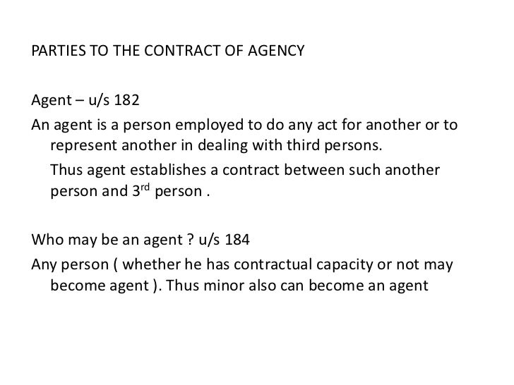 Contract Of Agency