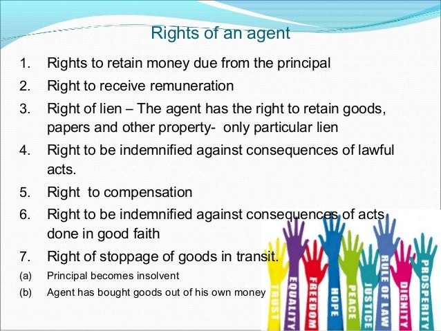 Rights and duties of agent