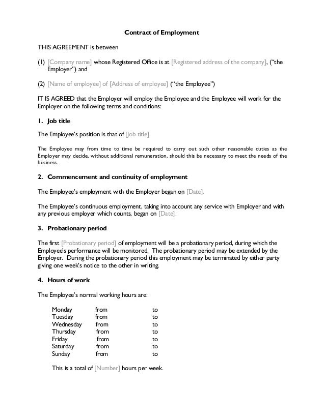 Contract of employment for Terms of employment contract template