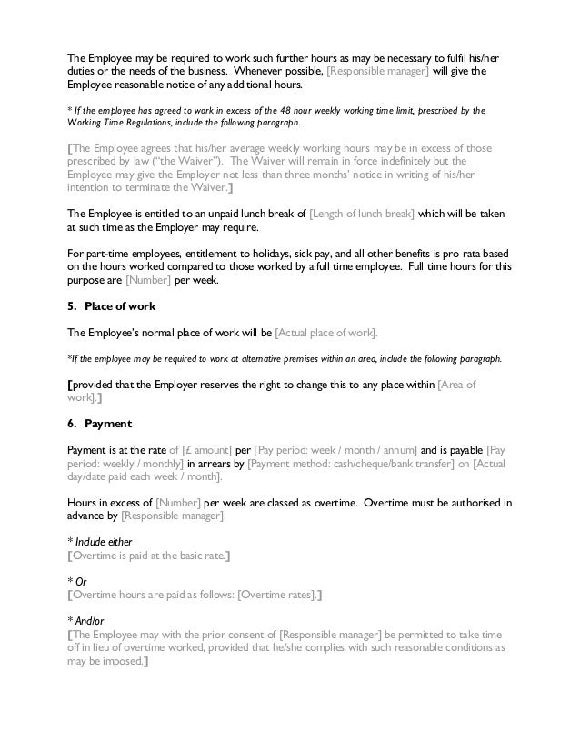 Contract of employment for Full time employment contract template