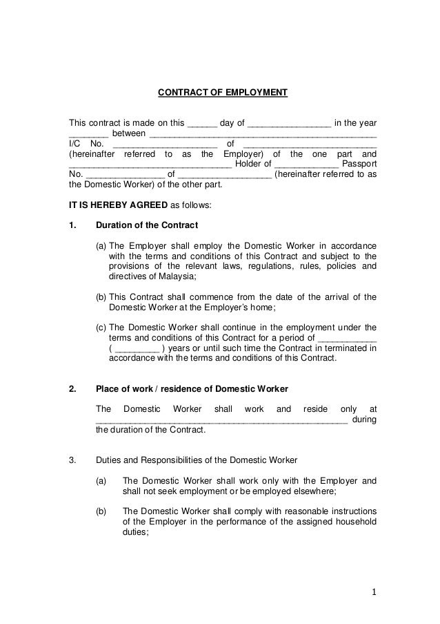 Contract of employment for Part time employment contract template free