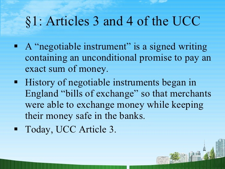 negotiable instruments article review Negotiability is a very important concept in international commerce and is generally associated with payment and fiscal matters in the course of its evolution and development, certain documents have come to be accorded negotiable status eg the bill of exchange however other documents that are.