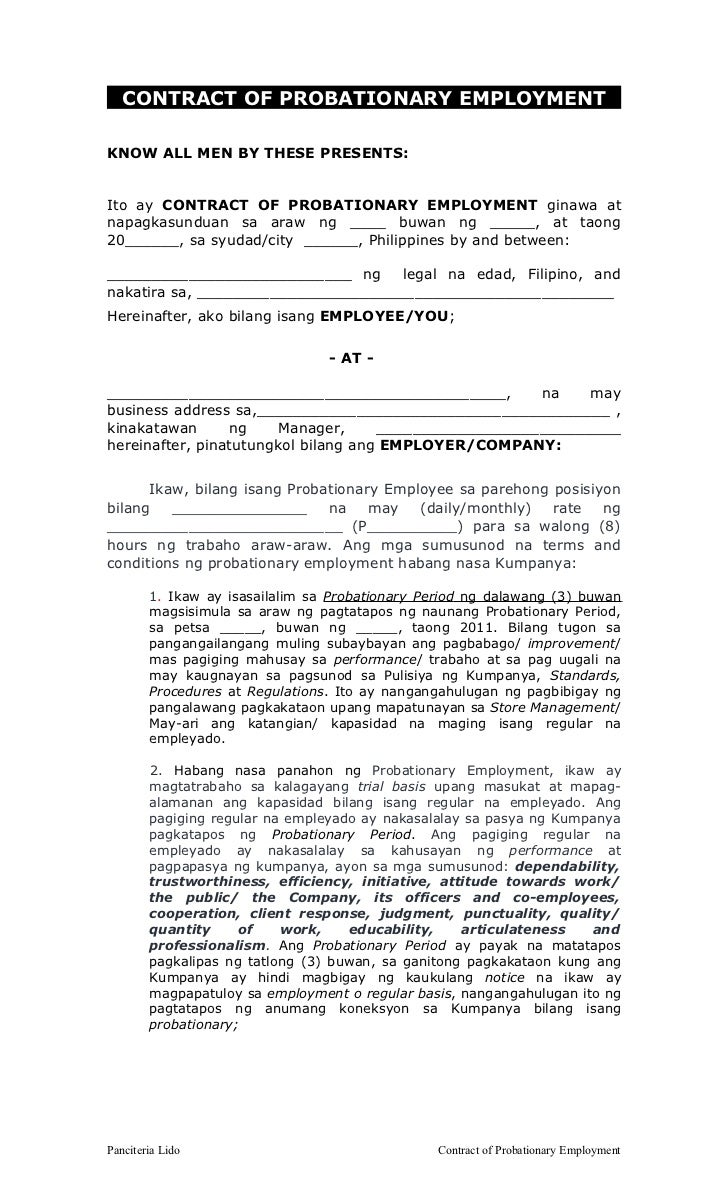 Contract of probationary employment fil bf