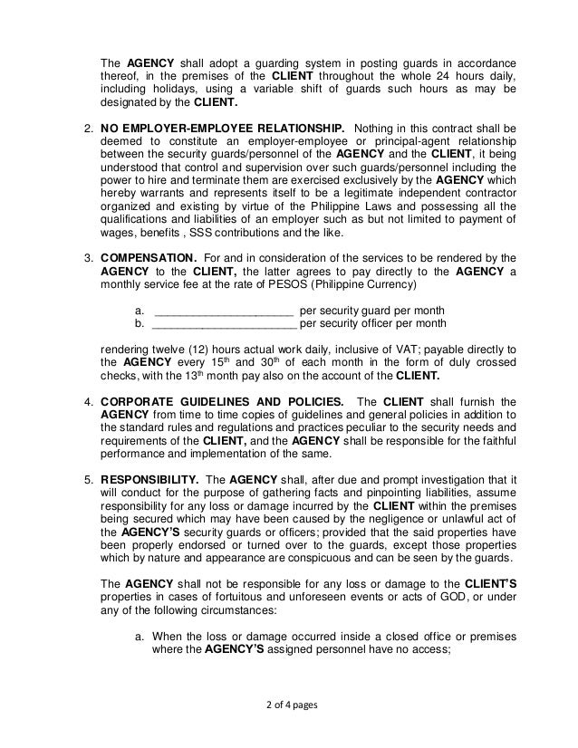 GSISI Contract of Security Services