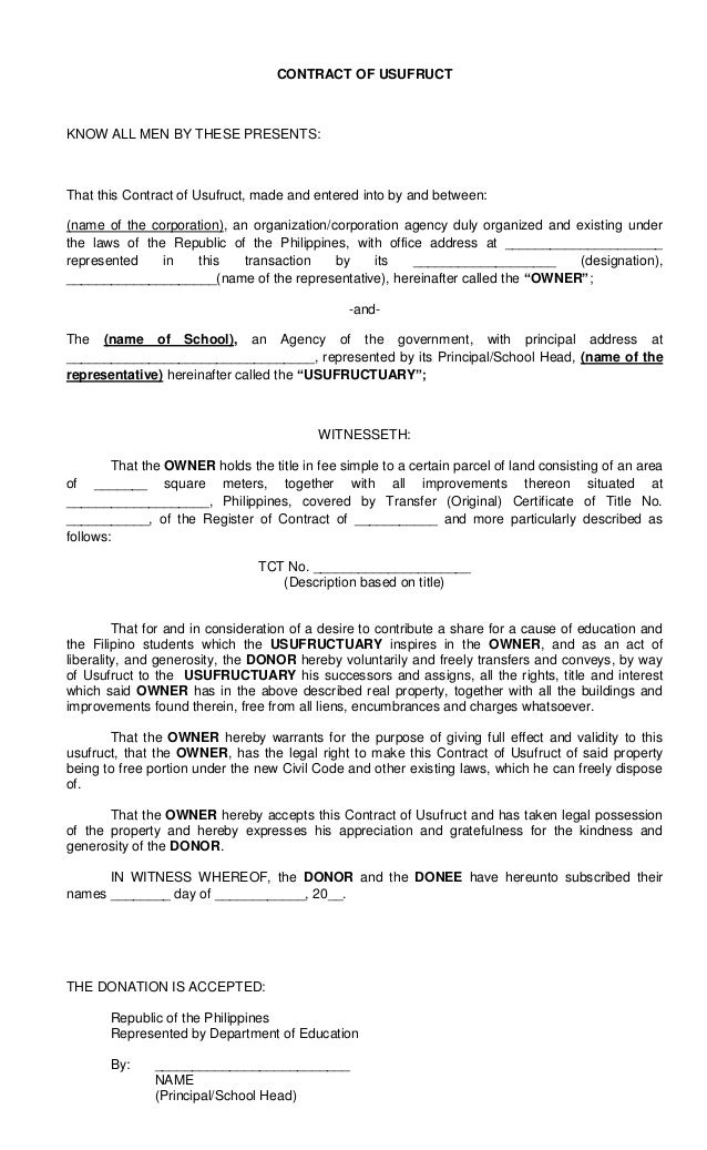 Contract of Usufruct – Sample Contract for Deed