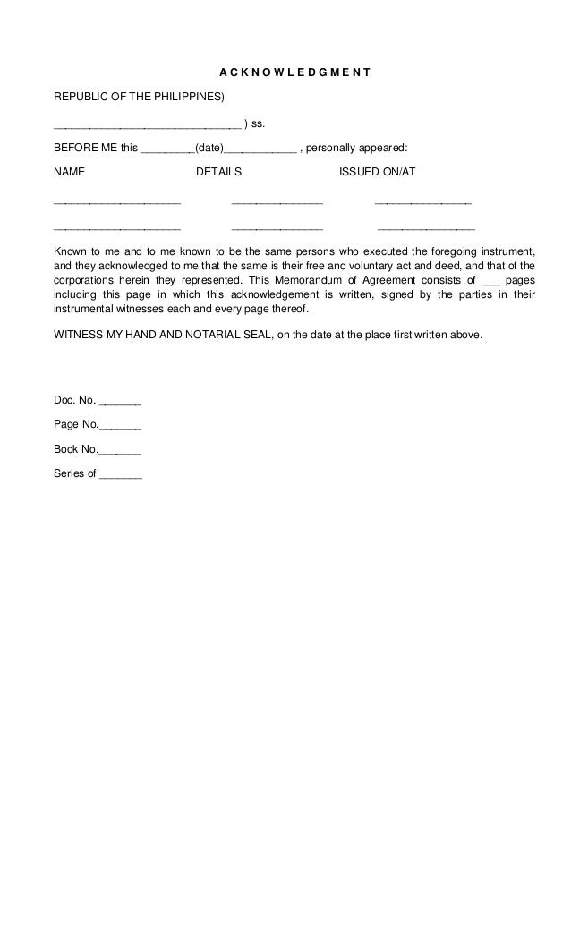 Memorandum Of Lease Agreement Memorandum Of Understanding Templates