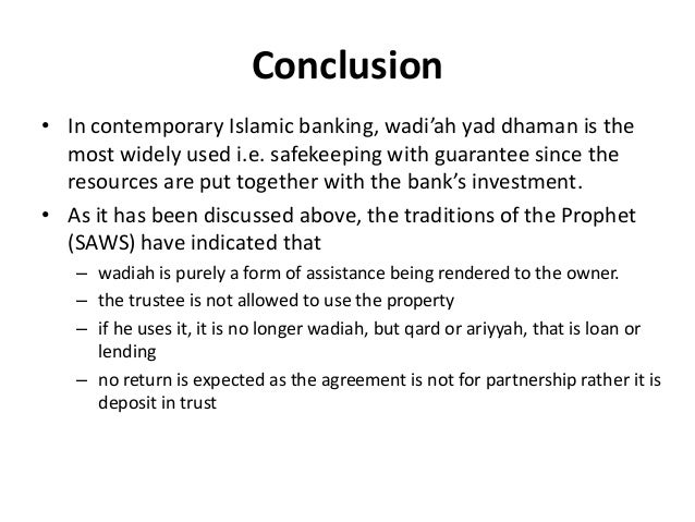 Contract Of Wadiah And Its Application In Islamic Banking