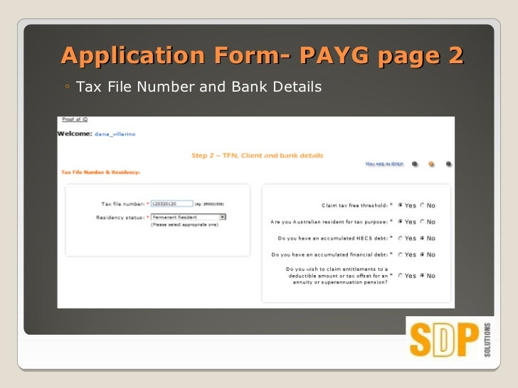 share application form tax file number