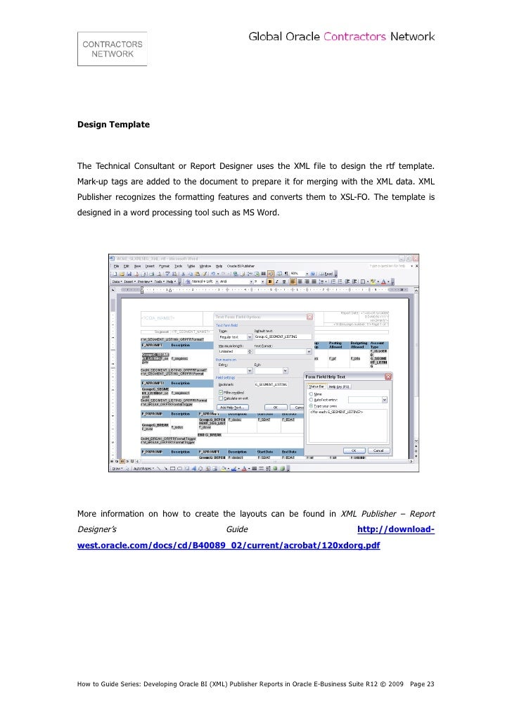 Contractors network developing oracle bi xml publisher for Date format in xml publisher template