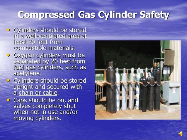 How should oxygen cylinders be stored?