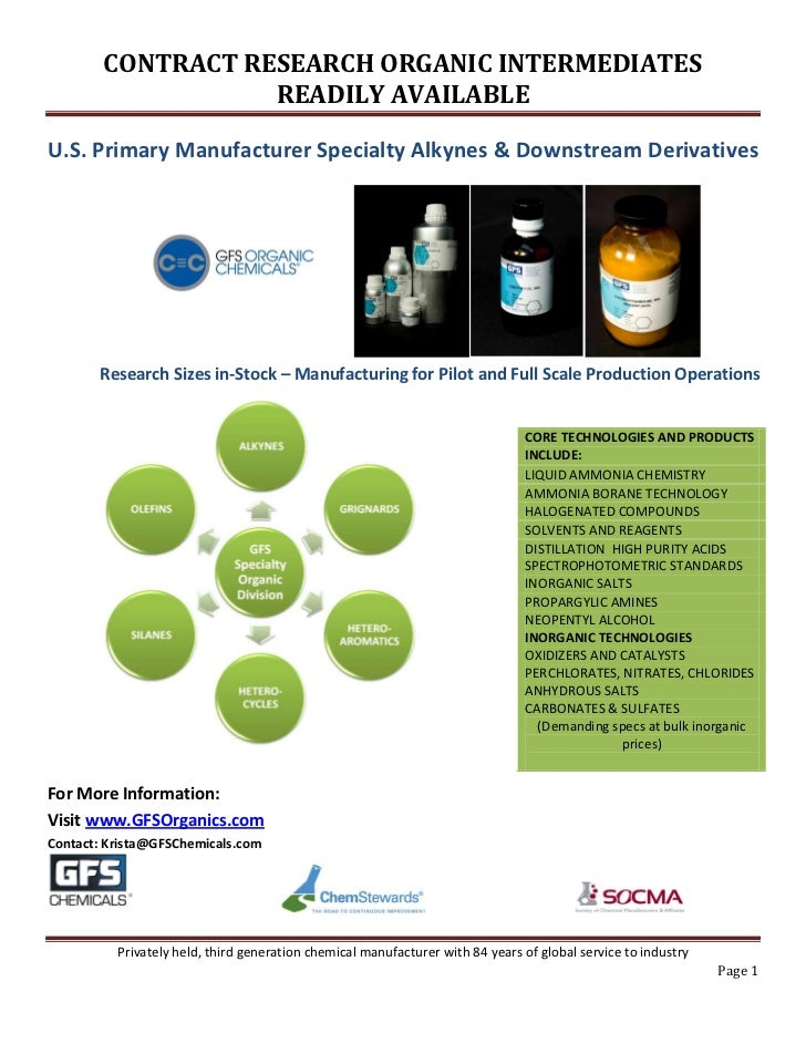 CONTRACT RESEARCH ORGANIC INTERMEDIATES                   READILY AVAILABLEU.S. Primary Manufacturer Specialty Alkynes & D...