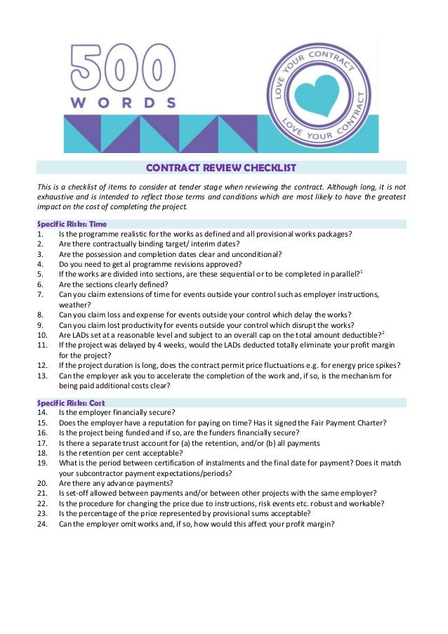 Construction Contract Review Checklist