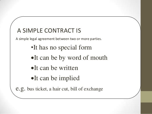 Contracts CXC CSEC – Simple Contract Agreement