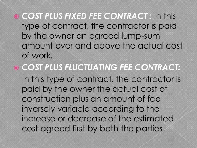 Civil engineering contracts for Cost plus contract