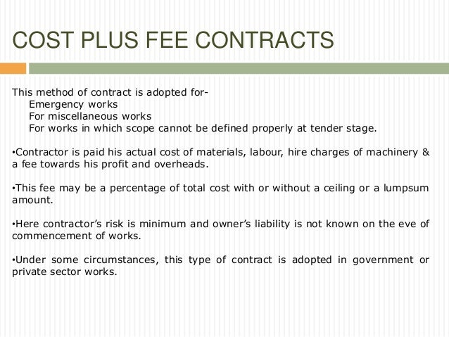 Contracts and tenders for Cost plus contract example