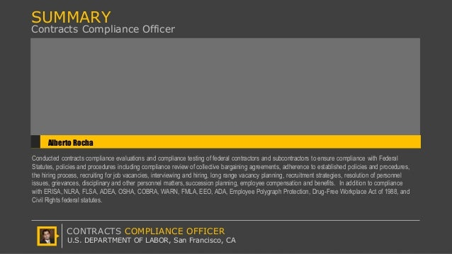 U s department of labor offcp contracts compliance - Compliance officer position description ...