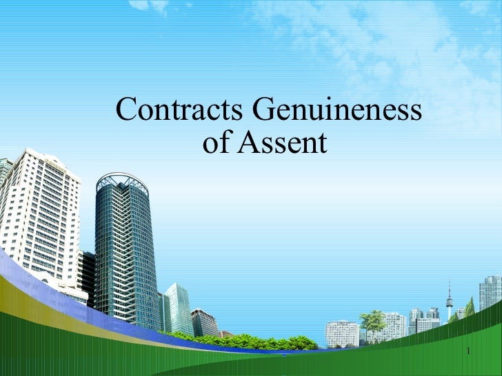 Contracts Genuineness of Assent