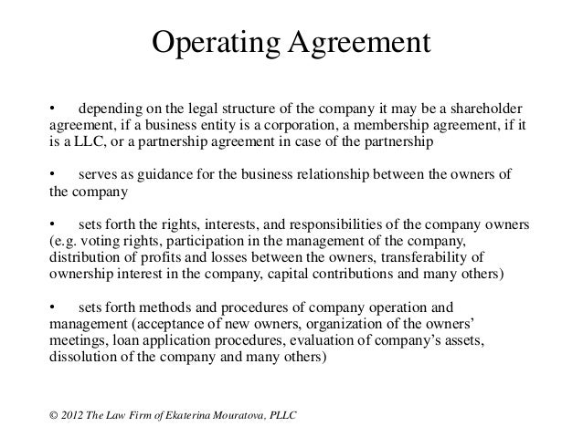 Contracts Most Companies Should Have - Partnership operating agreement